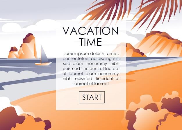 Reklama banerowa rozpocznij wakacje na wybrzeżu Premium Wektorów