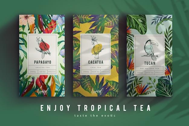 Reklama herbaty z dekoracją akwarelową Darmowych Wektorów