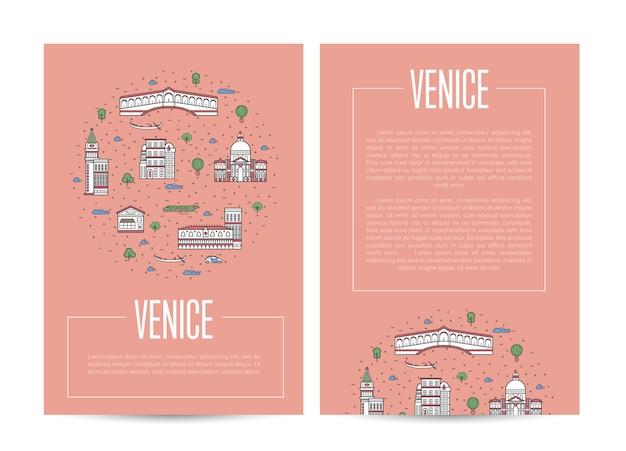 Reklama Miasta W Wenecji W Stylu Liniowym Premium Wektorów