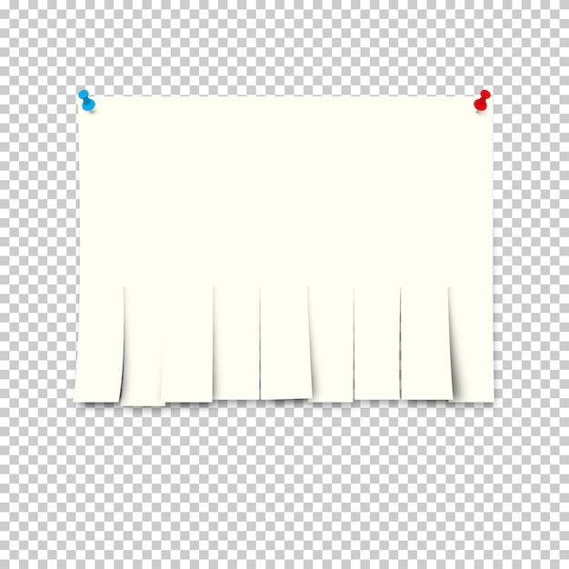 Reklama papierowa z papierami odrywanymi na przezroczystym tle. Premium Wektorów