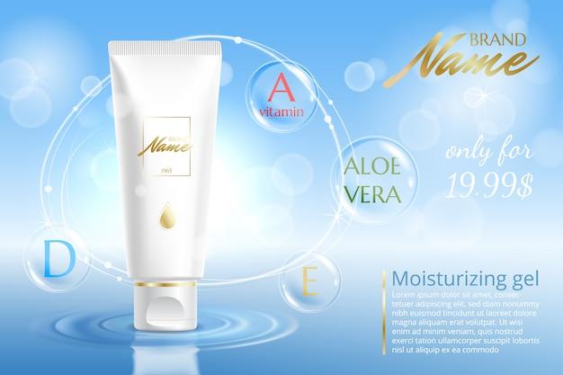 Reklama Produktu Kosmetycznego. Krem Nawilżający, żel, Balsam Do Ciała Z Witaminami. Premium Wektorów