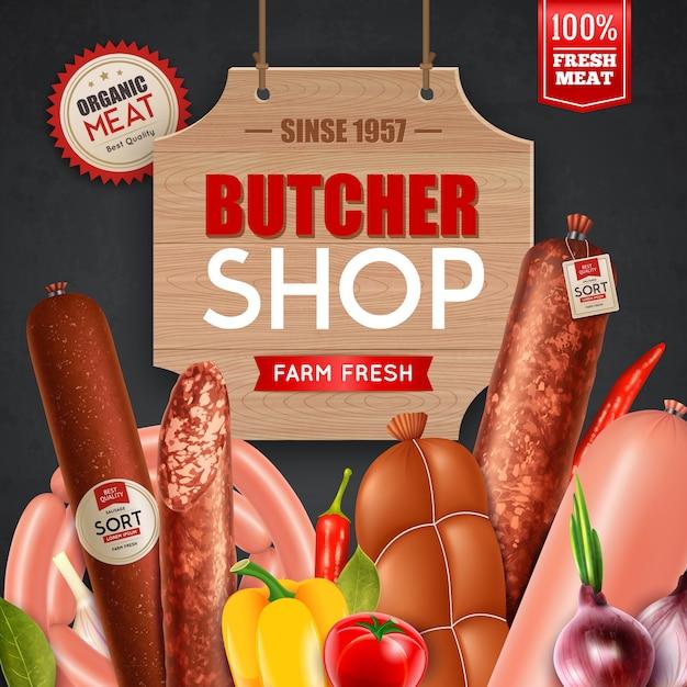 Reklama w sklepie mięsnym Darmowych Wektorów