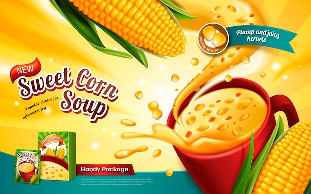 Reklama Zupy Kukurydzianej Z Efektem Specjalnym I Elementami Kukurydzianymi Premium Wektorów