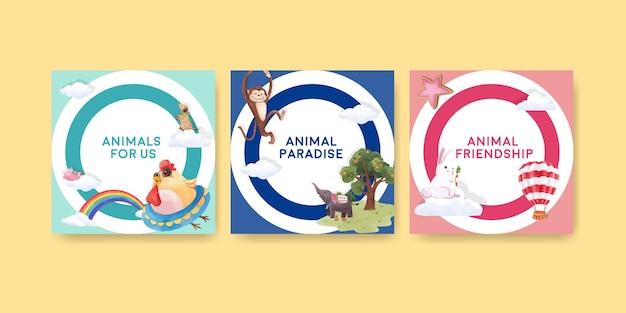 Reklamuj Szablon Z Akwarela Ilustracja Koncepcja Szczęśliwych Zwierząt Premium Wektorów