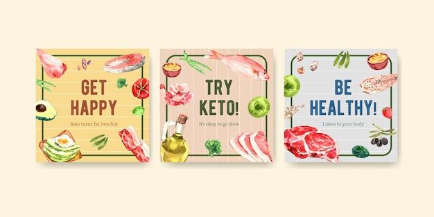 Reklamuj Szablon Z Koncepcją Diety Ketogenicznej Do Marketingu I Reklam Akwarela Ilustracji. Darmowych Wektorów