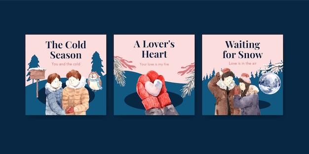 Reklamuj Szablon Z Koncepcją Zimowej Miłości Dla Broszury I Marketingowej Ilustracji Wektorowych Akwarela Darmowych Wektorów