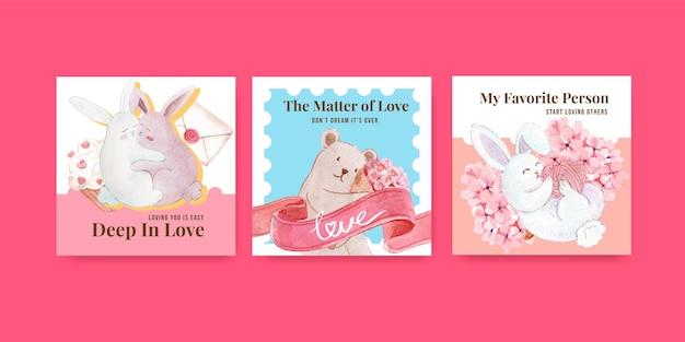 Reklamuj Szablon Z Loving You Concept Dla Marketingowej I Biznesowej Ilustracji Akwareli Darmowych Wektorów