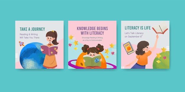 Reklamuj Szablon Z Projektem Koncepcyjnym Międzynarodowego Dnia Alfabetyzacji Dla Akwareli Marketingu Biznesowego. Darmowych Wektorów