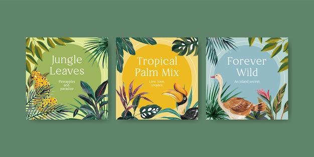 Reklamuj Szablon Z Tropikalnym Projektem Współczesnej Koncepcji Marketingowej Ilustracji Akwareli Darmowych Wektorów