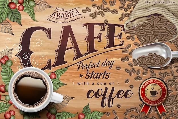 Reklamy Czarnej Kawy, Widok Z Góry Ilustracji Czarnej Kawy Na Tle Retro Grawerowanie Wiśni I Ziaren Kawy Premium Wektorów