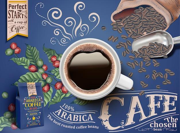 Reklamy Czarnej Kawy, Widok Z Góry Ilustracji Czarnej Kawy Z Elementami Retro Grawerowania Wiśni I Ziaren Kawy, Niebieskie Opakowanie I Tło Premium Wektorów