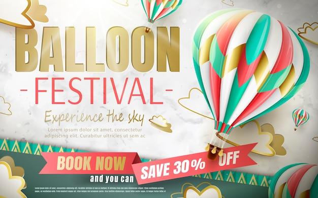 Reklamy Festiwalu Balonów, Wycieczka Balonem Dla Biura Podróży I Strony Internetowej Na Ilustracji, Piękny Balon Na Ogrzane Powietrze Na Tle Wyciętego Papieru Premium Wektorów
