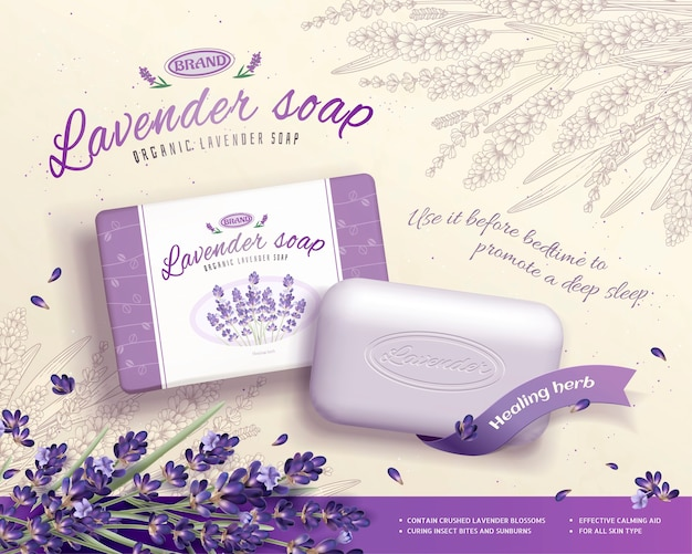 Reklamy Mydła Lawendowego Ze Składnikami Kwitnących Kwiatów, Grawerowane Tło Kwiatowe Premium Wektorów