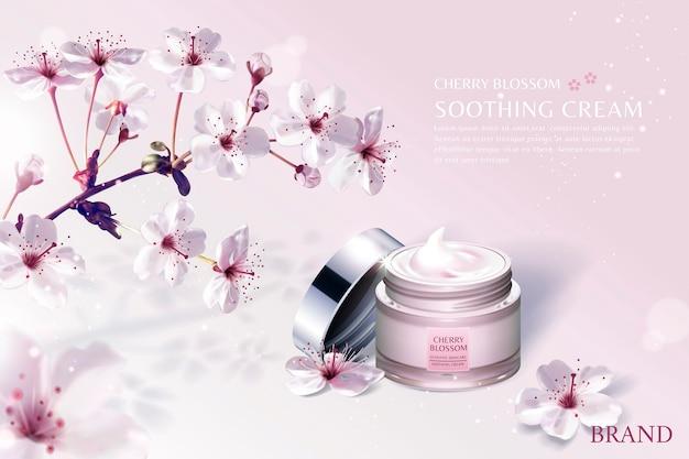 Reklamy Produktów Do Pielęgnacji Skóry Kwiat Wiśni Z Zapierającymi Dech W Piersiach Kwiatami Sakury Na Jasnoróżowym Tle Premium Wektorów