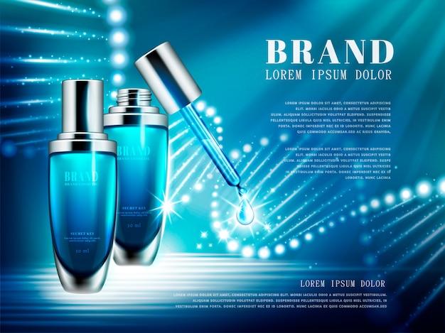 Reklamy Produktów Kosmetycznych, Zestaw Butelek Niebieskich Kropelek Ze Strukturą Podwójnej Helisy Złożonej Ze światła Na Ilustracji Premium Wektorów