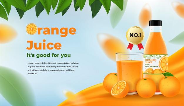 Reklamy Soku Pomarańczowego. Szklanka I Butelka Soku Pomarańczowego Z Pomarańczami I Liśćmi Premium Wektorów