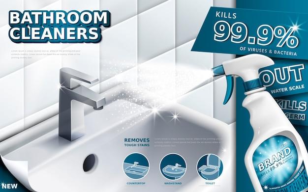 Reklamy środków Do Czyszczenia łazienki, Butelka Z Rozpylaczem Z Płynem Do Mycia Naczyń Używana Do łazienki W Ilustracji 3d Premium Wektorów