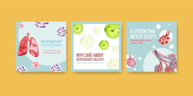 Reklamy Szablonowe Z Ludzką Anatomią Płuc I Układu Oddechowego, Tlenem Darmowych Wektorów