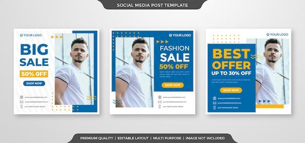 Reklamy W Mediach Społecznościowych Publikują Szablon W Stylu Premium Premium Wektorów