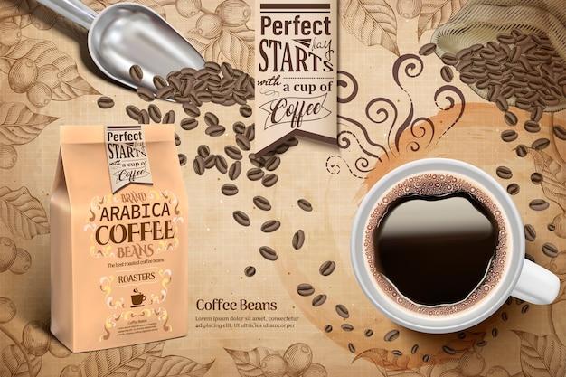 Reklamy Ziaren Kawy Arabica, Opakowanie Czarnej Kawy I Papierowej Torby Na Ilustracji, Retro Grawerowanie Elementów Roślin Kawy Premium Wektorów