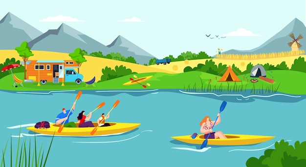 Rekreacja Wodna W Rzece Premium Wektorów