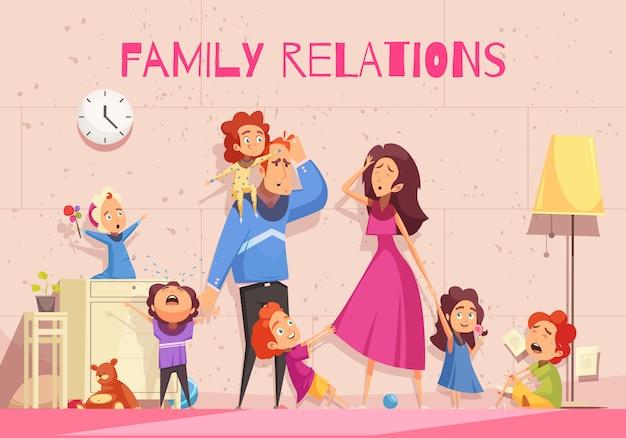 Relacje Rodzinne Kreskówka Pokazuje Emocję Przygnębeni Rodzice Męczący Dziecko Hałasu Wektoru Ilustracja Darmowych Wektorów