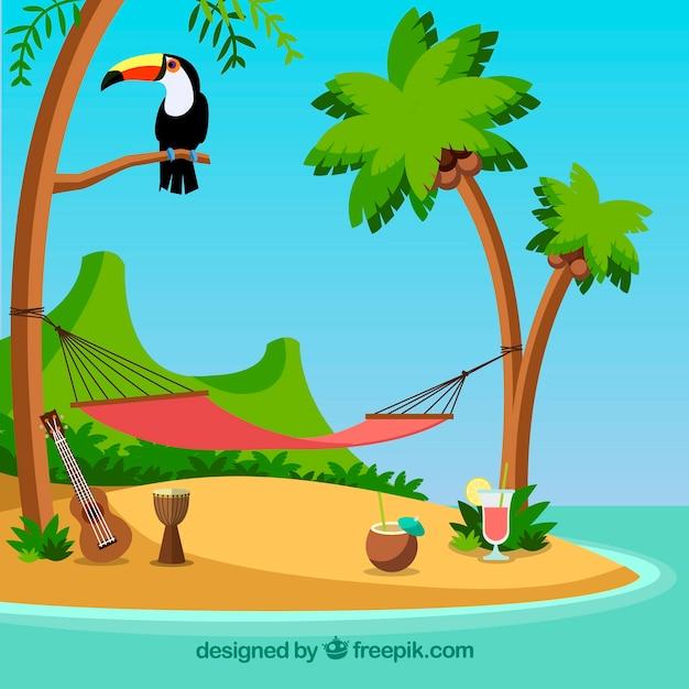 Relaksujące miejsce na wyspie Darmowych Wektorów