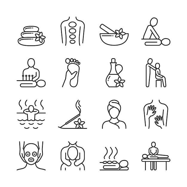 Relaksujący masaż i organiczne piktogramy linii spa. ikony wektor terapii dłoni. spa i terapia, masaż dla zdrowia i relaks ilustracja Premium Wektorów