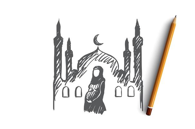 Religia, Ciąża, Muzułmanin, Arabski, Islam, Koncepcja Meczetu. Ręcznie Rysowane W Ciąży Muzułmanka, Meczet Na Szkic Koncepcji Tła. Premium Wektorów