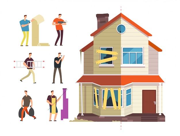 Remont Domu Z Osobami Zajmującymi Się Naprawami Premium Wektorów