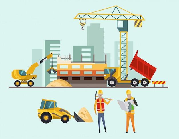 Remont na placu budowy. proces budowlany z domami i maszynami budowlanymi Premium Wektorów