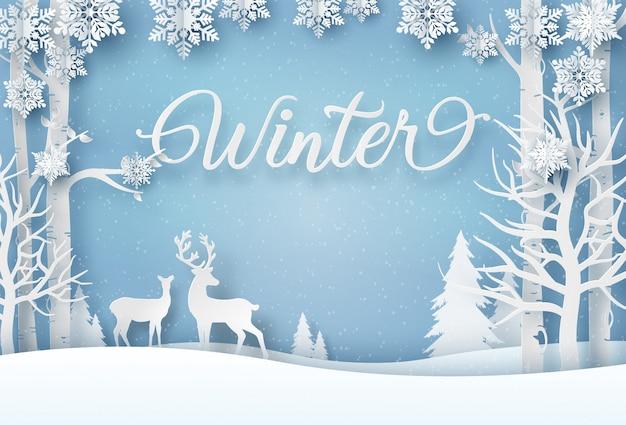 Renifer w lesie z płatkami śniegu Premium Wektorów
