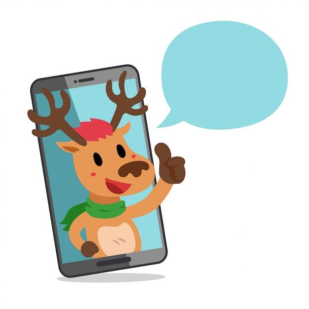 Renifer Z Smartphone I Dymek Premium Wektorów