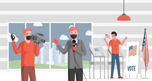 Reporter Telewizyjny Relacjonuje Wiadomości Dotyczące Ilustracji Wyborów W Usa. Premium Wektorów