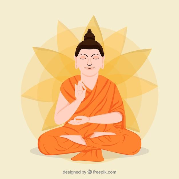 Reprezentacja Budha O Płaskiej Konstrukcji Premium Wektorów