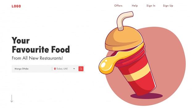 Responsywny Szablon Sieci Web Lub Strona Docelowa Z Ilustracją Shake Mango. Premium Wektorów