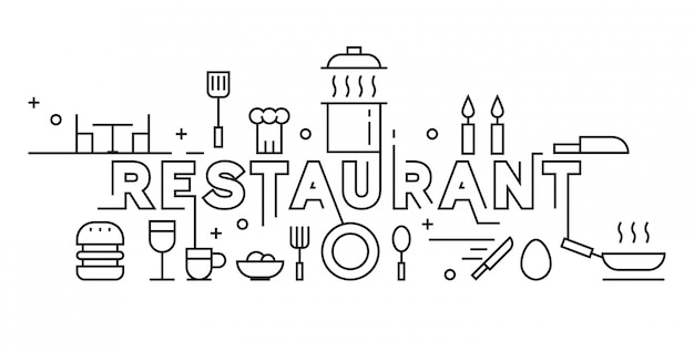 Restauracja line art design Premium Wektorów