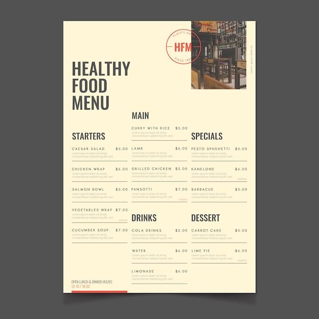 Restauracja Zdrowe Jedzenie Menu Styl Vintage Darmowych Wektorów