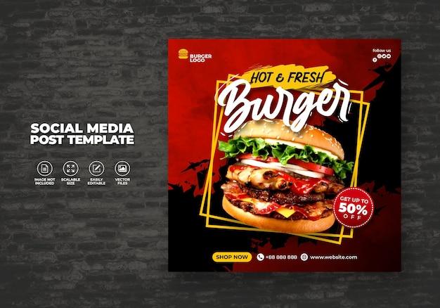 Restauracja żywnościowa Dla Social Media Wzornik Specjalne Delicious Burger Menu Promo Premium Wektorów