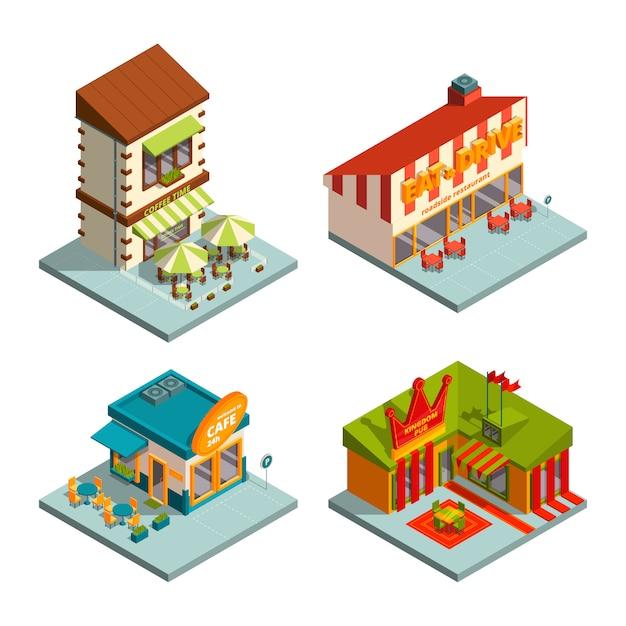 Restauracje i kawiarnie. budynki izometryczne Premium Wektorów