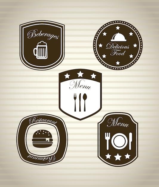 Restauracyjne ikony nad rocznika tła wektoru ilustracją Premium Wektorów