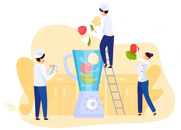 Restauracyjni Ludzie Zespalają Się Kulinarnego Owocowego Smoothie, Miesza Składniki W Blender, Ilustracja Premium Wektorów