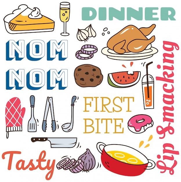 Restauracyjny tło z różnorodnym jedzeniem w doodle stylu. Premium Wektorów