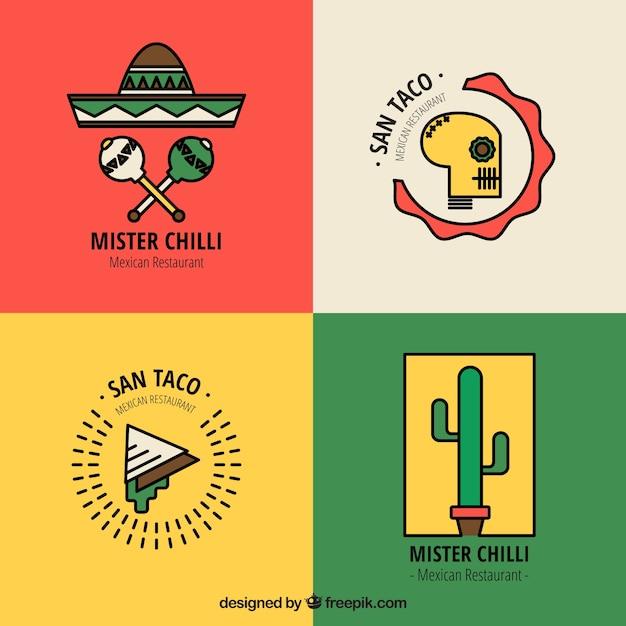 Restautant loga pakować do meksykańskiej żywności Darmowych Wektorów