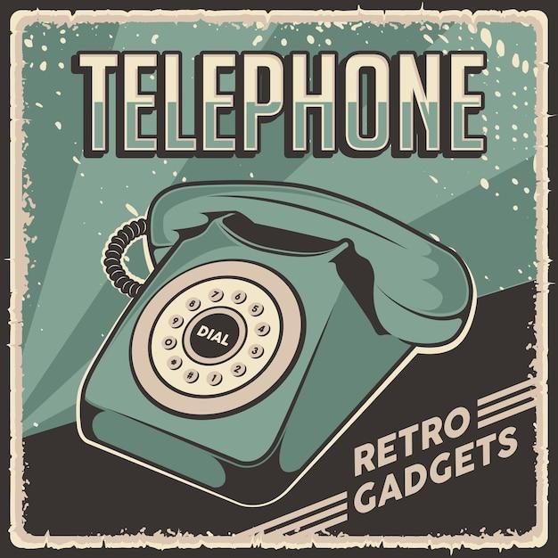 Retro Classic Vintage Gadżety Telefoniczne Plakat Oznakowania Premium Wektorów