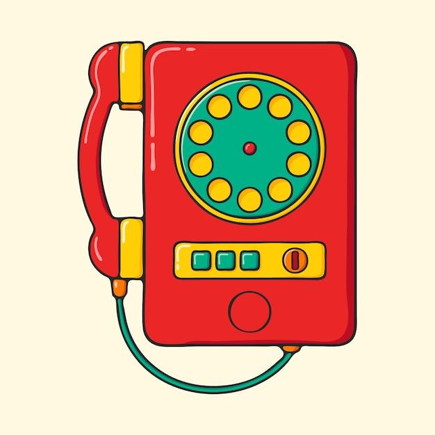 Retro Czerwony Telefon Ręcznie Rysowane Stylu Pop-art Ilustracja. Premium Wektorów