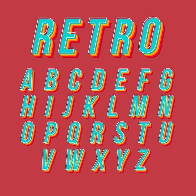 Retro Design Z Alfabetu Darmowych Wektorów