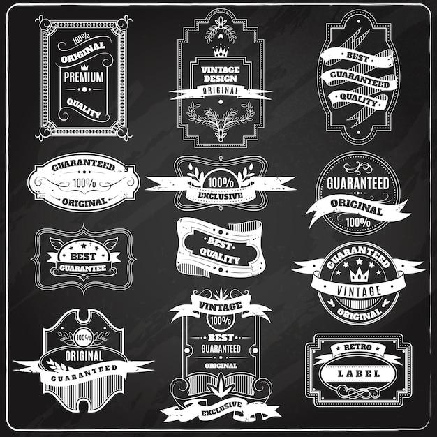 Retro emblematy ustawiają kredowego blackboard Darmowych Wektorów