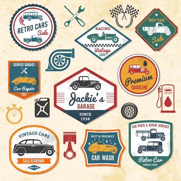 Retro etykiety samochodowe Darmowych Wektorów