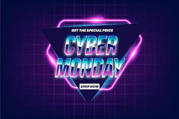 Retro Futurystyczna Promocja Sprzedaży W Cyber Poniedziałek Darmowych Wektorów
